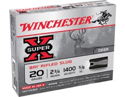 "Winchester Ammunition Super-X BRI Rifled Slugs 2.75"" 20 Gauge Ammo, 5/box - XRS20"