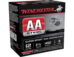 "Winchester Ammunition AA Steel 2.75"" 12 Gauge Ammo 8, 25/box - AASCL12S8"