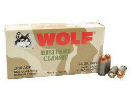 Wolf Performance Military Classic 94 gr Full Metal Jacket .380 ACP Ammo, 50/box - MC917FMJ
