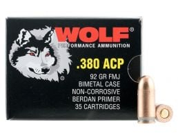 Wolf Performance PolyFormance 91 gr Full Metal Jacket .380 Auto Ammo, 50/box - 917FMJ