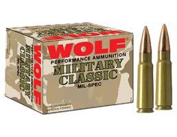 Wolf Performance Military Classic 168 gr Full Metal Jacket .308 Win/7.62 Ammo, 500/case - MC308FMJ168