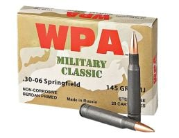 Wolf Performance Military Classic 145 gr Full Metal Jacket .30-06 Spfld Ammo, 500/case - MC3006FMJ145