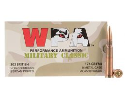 Wolf Performance Military Classic 174 gr Full Metal Jacket .303 British Ammo, 280/case - MC303BRITH