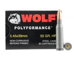 Wolf Performance PolyFormance 55 gr Hollow Point 5.45x39mm Ammo, 750/case - 545BHP