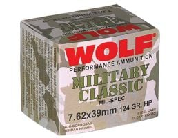 Wolf Performance Military Classic 124 gr Hollow Point 7.62x39mm Ammo, 1000 rds/case - MC762BHP
