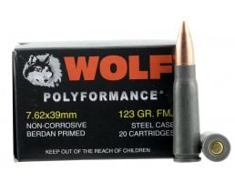 Wolf Performance PolyFormance 123 gr Full Metal Jacket 7.62x39mm Ammo, 1000 rds/case - 762BFMJ