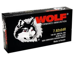 Wolf Performance 148 gr Full Metal Jacket 7.62x54mmR Ammo, 500 rds/case - 76254BFMJ148