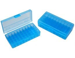 "MTM Case Gard P-50 50 Round Flip-Top Ammo Box, 1.7"" OAL, Clear Blue - P503824"