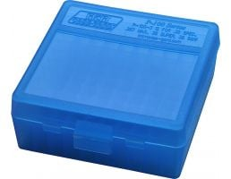 "MTM Case Gard P-100 100 Round Flip-Top Ammo Box, 1.7"" OAL, Clear Blue - P100324"