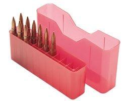 "MTM Case Gard J-20 20 Round Slip-Top Ammo Box, 2.52"" OAL, Clear Red - J20M29"