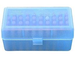 "MTM Case Gard R-50 50 Round Ammo Box, 2.46"" OAL, Clear Blue - RSLD5024"