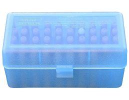 """MTM Case Gard R-50 50 Round Ammo Box, 3.08"""" OAL, Clear Blue - RMLD5024"""