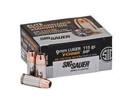 Sig Sauer Elite Performance V-Crown 115 gr JHP 9mm Ammo, 20/box - E9MMA150
