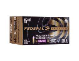 Federal Practice & Defend 230 gr HSTJHP/TSJ .45 Auto Ammo, 100/pack - P45HST2TM100
