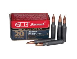 Barnaul Ammunition 168 gr FMJBT .308 Win/7.62 Ammo, 20/box - BRN308WINFMJBT168