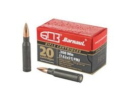 Barnaul  308 Winchester Ammo 145 Grain FMJ Steel Polycoated Case, 20 Rounds Box - BRN308WINFMJ145
