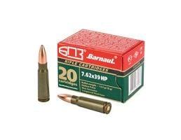 Barnaul  7.62x39 Ammo 123 Grain Hollow Point Steel Lacquered Case, 20 Round Box - BRN762x39HP123