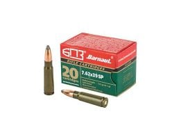 Barnaul  7.62x39 Ammo 125 Grain Soft Point Steel Laquered Case, 20 Round Box - BRN762x39SP125