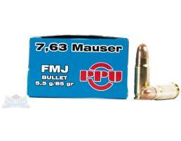PRVI Partizan 7.63 Mauser 85gr FMJ Ammunition 50rds - PP-R7.2
