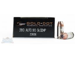 Speer 380 Auto/ACP 90gr Gold Dot Ammunition 20rds - 23606