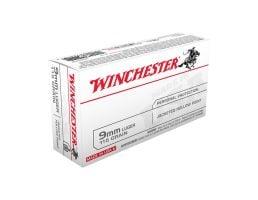 Winchester USA 9mm 115gr Jacketed Hollow Point Pistol Ammunition, 50 Rounds - USA9JHP