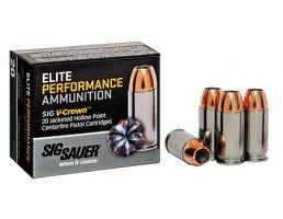 Sig Sauer 357 SIG 125gr JHP V-Crown Elite Performance Ammunition 20rds - E357S1-20