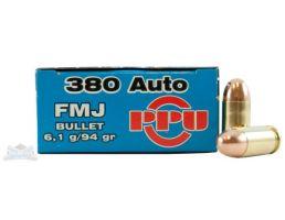 PRVI Partizan 380 Auto/ACP 94gr FMJ Ammunition 50rds - PP-R3.2