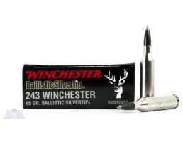 Winchester 243 95gr Ballistic Silvertip Rifle Ammunition 20trds - SBST243A