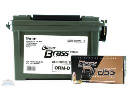 cci blazer brass 9mm 115 grain fmj ammo 350 round can