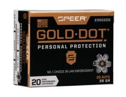 Speer Gold Dot Personal Protection .25 ACP 35 gr GDHP 20 Rounds Ammunition - 23602GD