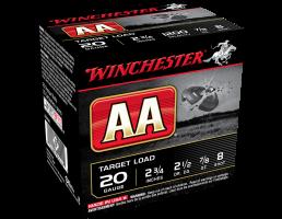 """Winchester AA Target Load 20 ga 2.75"""" #8 7/8 oz. 25 Shotshells- AA208"""