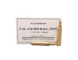 Armscor Ammunition 55 gr FMJ 5.56 M193 Ammunition, 20 Rounds