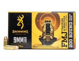 Browning 115 gr FMJ 9mm Ammunition 200 Rounds
