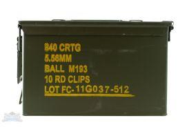 Federal 5.56 55gr FMJBT Clipped Ammunition in 840rd Ammo Can - XM193K