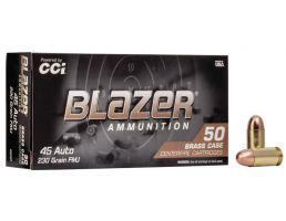 CCI Blazer Brass 230 gr FMJ .45 ACP Ammunition 100 Rounds