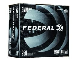 Federal 9mm 115 gr FMJ 250 Round Black Pack | PSA