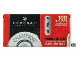 Federal Champion 9mm 115 gr FMJ 100 Rounds Aluminum Cased Ammunition