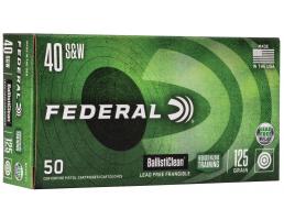 Federal BallistiClean 125 Grain LFF 40 S&W Ammo, 50rds/Box - BC40CTI