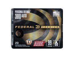 Federal Personal Defense .380 ACP 99 gr Hydra Shok 20 Rounds Ammunition