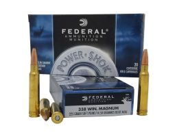 Federal Power-Shok 225 gr SP 338 Win Mag Ammo, 20 Rounds