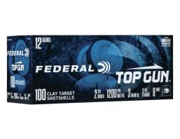 "Federal Top Gun 12 Gauge 2 3/4"" 1 1/8 oz 7.5 Shot 100 Rounds"