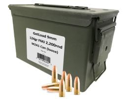 GetLoad Ammo 9mm 124gr FMJ 2,200rds Loose Rounds Sealed in M2A1 Can