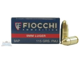 Fiocchi 9mm 115gr FMJ 50 Rounds Ammunition - 9AP