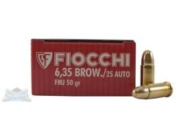 Fiocchi 25 Auto/ACP (ACP/6.35 Browning) 50gr FMJ Ammunition 50rds- - -25AP