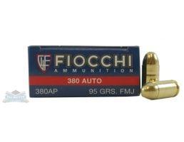 Fiocchi .380 Auto/ACP 95gr FMJ Ammunition 50rds - 380AP