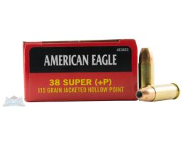 American Eagle 38 Super+P **NOT FOR REVOLVERS ** 115 JHP Ammunition 50rds - AE38S3