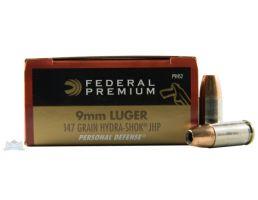 Federal 9mm 147gr Hydra-Shok Ammunition 20rds - P9HS2