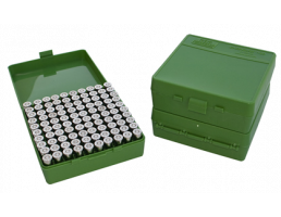 MTM Case Guard FlipTop Ammo Box 380ACP/9mm-Green-100rd-P-100-9-10