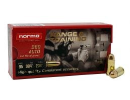 Norma Range And Training 95 gr FMJ .380 ACP Ammunition 50 Rounds