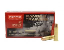 Norma Target 158 gr FMJ .38 Special Ammunition 50 Rounds